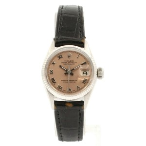 Ladies ROLEX President 18k Gold Oyster Perpetual Datejust 26mm Salmon Color Dial