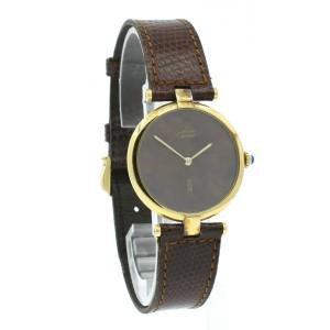 CARTIER Must De Cartier Vermeil Gold Sterling Silver Brown Dial Watch