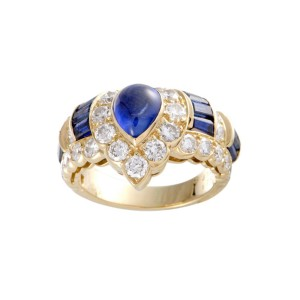 Graff 18K Yellow Gold 3.12ctw Sapphire and 1.76ctw Diamond Band Ring Size 7.5