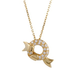 Dior 18K Yellow Gold with 0.65ctw Diamond Pendant Necklace