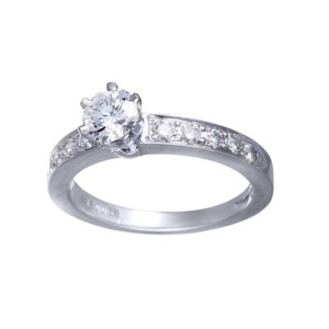 Tiffany & Co. 950 Platinum with 0.45ct Diamond Solitaire Engagement Ring Size 5.25