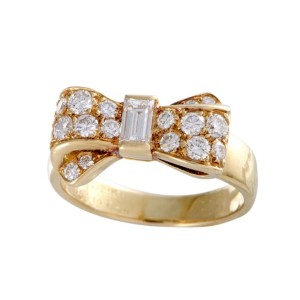 Van Cleef & Arpels 18K Yellow Gold with 0.59ct Diamond Bow Ring Size 4