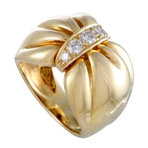 Van Cleef & Arpels 18K Yellow Gold with 0.25ct Diamond Bow Band Ring Size 4.75