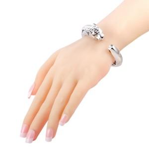 Cartier Panthere 18K White Gold Tsavorite, Onyx and Black Enamel Bangle Bracelet Size 17