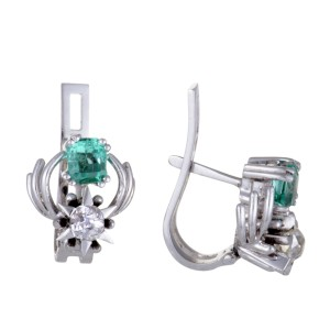 18K White Gold with Diamond and Emerald Dangle Earrings