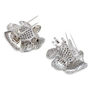 18K White Gold with 21.50ct Diamond Pave Rose Pair of Brooch and Earrings