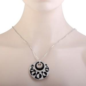Bulgari Intrasio 18K White Gold Diamond and Onyx Large Pendant Necklace