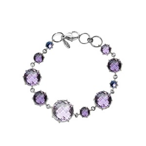 Sterling Silver Light Amethyst, Amethyst, Iolite Bracelet