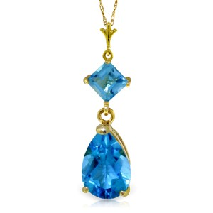 2 CTW 14K Solid Gold To Love Again Blue Topaz Necklace