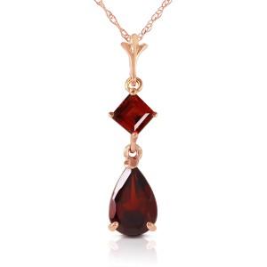 2 CTW 14K Solid Rose Gold Laughter Garnet Necklace