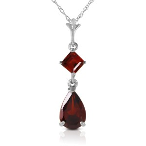 2 CTW 14K Solid White Gold Granted Wishes Garnet Necklace