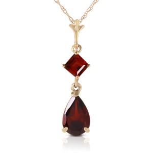 2 CTW 14K Solid Gold Love Under The Rain Garnet Necklace