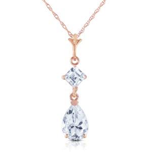 2 CTW 14K Solid Rose Gold Sparkly Dew Aquamarine Necklace