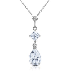2 CTW 14K Solid White Gold Naturalme Of The Game Aquamarine Necklace
