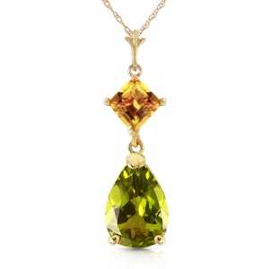 2 CTW 14K Solid Gold Necklace Natural Citrine Peridot