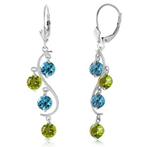 4.94 CTW 14K Solid White Gold Chandelier Earrings Blue Topaz Peridot