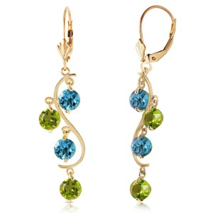 4.94 CTW 14K Solid Gold Chandelier Earrings Blue Topaz Peridot