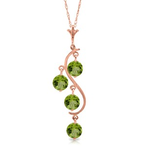 2.25 CTW 14K Solid Rose Gold Grape Peridot Necklace