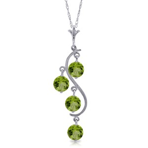 2.25 CTW 14K Solid White Gold Thousand Voices Peridot Necklace
