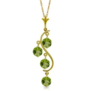2.25 CTW 14K Solid Gold Tables Turned Peridot Necklace