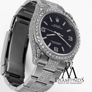 Rolex Oyster Perpetual 31mm Black with Pink Dial Custom Diamond Watch 177200