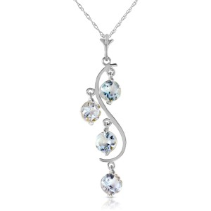 2.25 CTW 14K Solid White Gold Game Changer Aquamarine Necklace