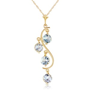 2.25 CTW 14K Solid Gold Loving Aquamarine Necklace