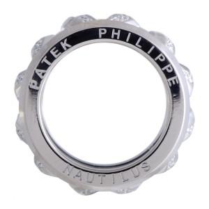 Patek Philippe Nautilus 18K White Gold Diamond Pave Openwork Band Ring