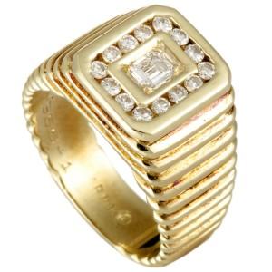 Van Cleef & Arpels 18K Yellow Gold Diamond Ribbed Rectangle Ring