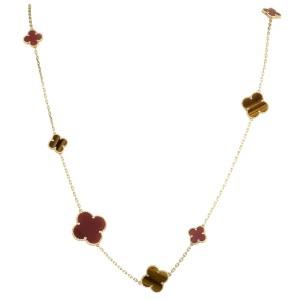 Van Cleef & Arpels Magic Alhambra 18K Yellow Gold Tiger Eye and Carnelian 16 Motif Long Necklace