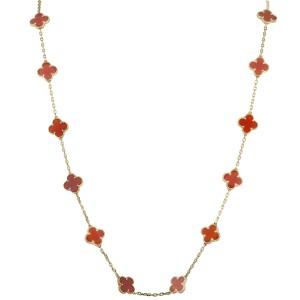 Van Cleef & Arpels Magic Alhambra 18K Yellow Gold Carnelian 20 Motif Long Necklace
