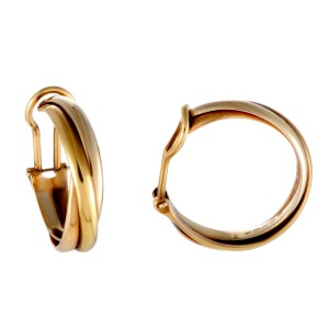 Cartier Trinity Earrings 18K Yellow White and Rose Gold