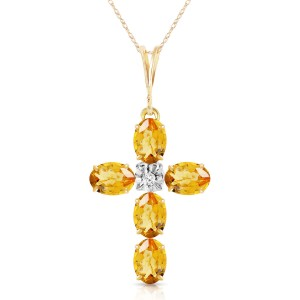 1.88 CTW 14K Solid Gold Cross Necklace Natural Diamond Citrine