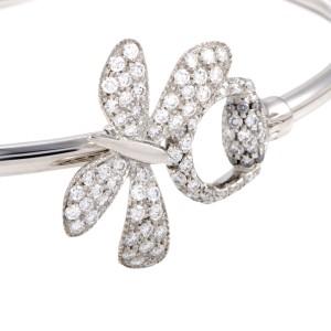 Gucci Flora 18K White Gold Diamond Pave Butterfly and Horsebit Bangle Bracelet