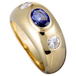 Bvlgari 18K Yellow Gold Two Diamond and Sapphire Band Ring