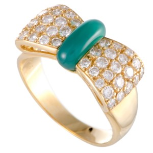 Van Cleef & Arpels 18K Yellow Gold Diamond Pave and Green Chalcedony Bow Ring