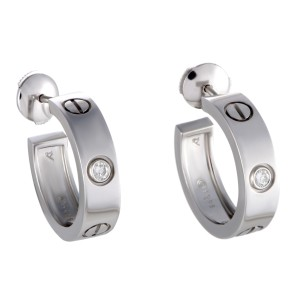 Cartier Love Earrings 18k White Gold Diamond