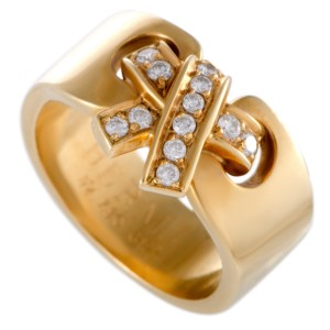 Hermes 18K Yellow Gold Diamond Pave Bow Band Ring