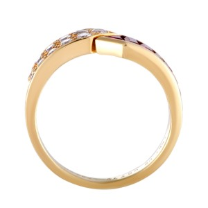 Van Cleef & Arpels 18K Yellow Gold Diamond Pave and Ruby Invisible Setting Band Ring