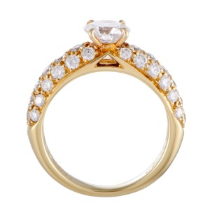 Van Cleef & Arpels 18K Yellow Gold Center Diamond and Diamond Pave Engagement Ring