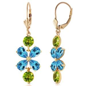 5.32 CTW 14K Solid Gold Petals Blue Topaz Peridot Earrings
