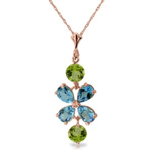 3.15 CTW 14K Solid Rose Gold Petals Blue Topaz Peridot Necklace