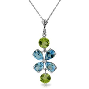 3.15 CTW 14K Solid White Gold Something Charming Blue Topaz Peridot Necklace