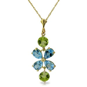 3.15 CTW 14K Solid Gold High Standards Blue Topaz Peridot Necklace