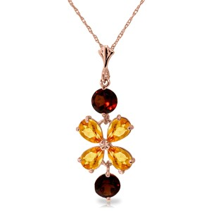 3.15 CTW 14K Solid Rose Gold Necklace Citrine Garneters