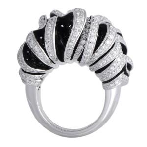de Grisogono Onde 18K White Gold Full Diamond Pave Large Sliced Ring
