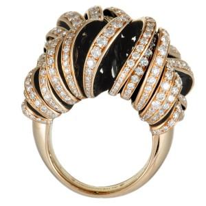 de Grisogono Onde 18K Rose Gold Full Diamond Pave Large Sliced Ring