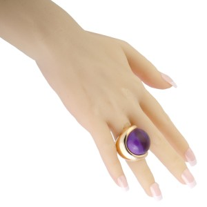 de Grisogono 18K Rose Gold Amethyst Cabochon Large Overlapping Ring