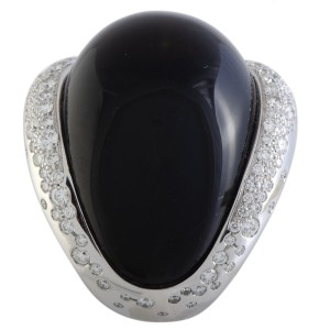 de Grisogono 18K White Gold Diamond Pave and Black Quartz Cabochon Large Overlapping Ring