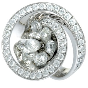 de Grisogono 18K White Gold Diamond Pave and 7 Briolette Cut Diamonds Loop Ring